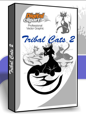 Tribal Cats 2 Cuttable vector clipart in EPS and AI formats. Vectorial Clip art for cutting plotters.