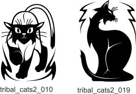 Tribal Cats 2. Free vector lipart in EPS and AI formats.