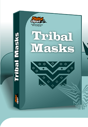 Tribal Masks - Cuttable vector clipart in EPS and AI formats. Vectorial Clip art for cutting plotters.