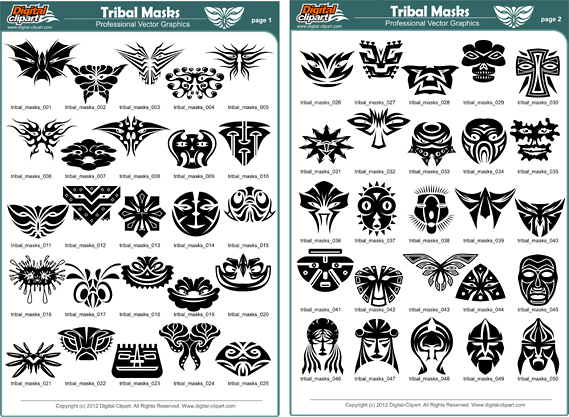 Tribal Masks - PDF - catalog. Cuttable vector clipart in EPS and AI formats. Vectorial Clip art for cutting plotters.