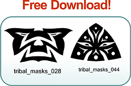 Tribal Masks - Free vector lipart in EPS and AI formats.