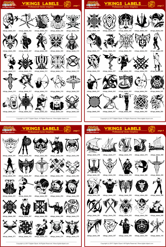 Vikings Labels - PDF - catalog. Cuttable vector clipart in EPS and AI formats. Vectorial Clip art for cutting plotters.