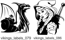 Vikings Labels  - Free vector lipart in EPS and AI formats.