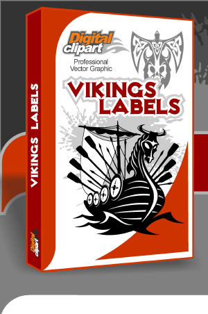 Vikings Labels  - Cuttable vector clipart in EPS and AI formats. Vectorial Clip art for cutting plotters.