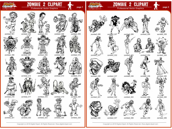 Zombie Clipart 2  - PDF - catalog. Cuttable vector clipart in EPS and AI formats. Vectorial Clip art for cutting plotters.